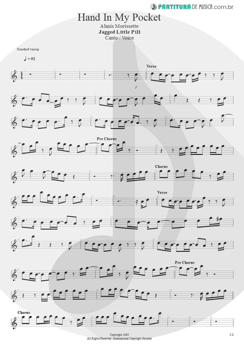 Partitura de musica de Canto - Hand In My Pocket | Alanis Morissette | Jagged Little Pill 1995 - pag 1