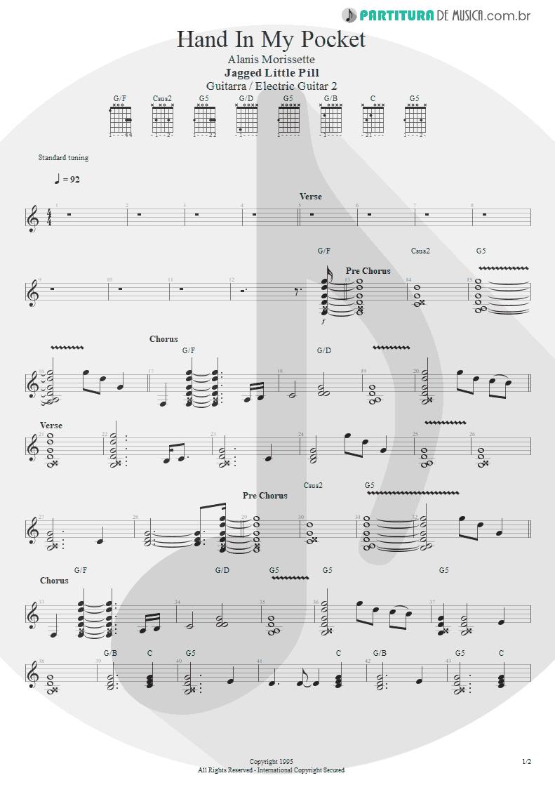 Partitura de musica de Guitarra Elétrica - Hand In My Pocket   Alanis Morissette   Jagged Little Pill 1995 - pag 1