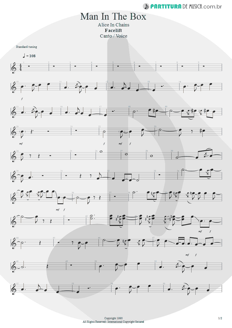 Partitura de musica de Canto - Man In The Box | Alice in Chains | Facelift 1990 - pag 1