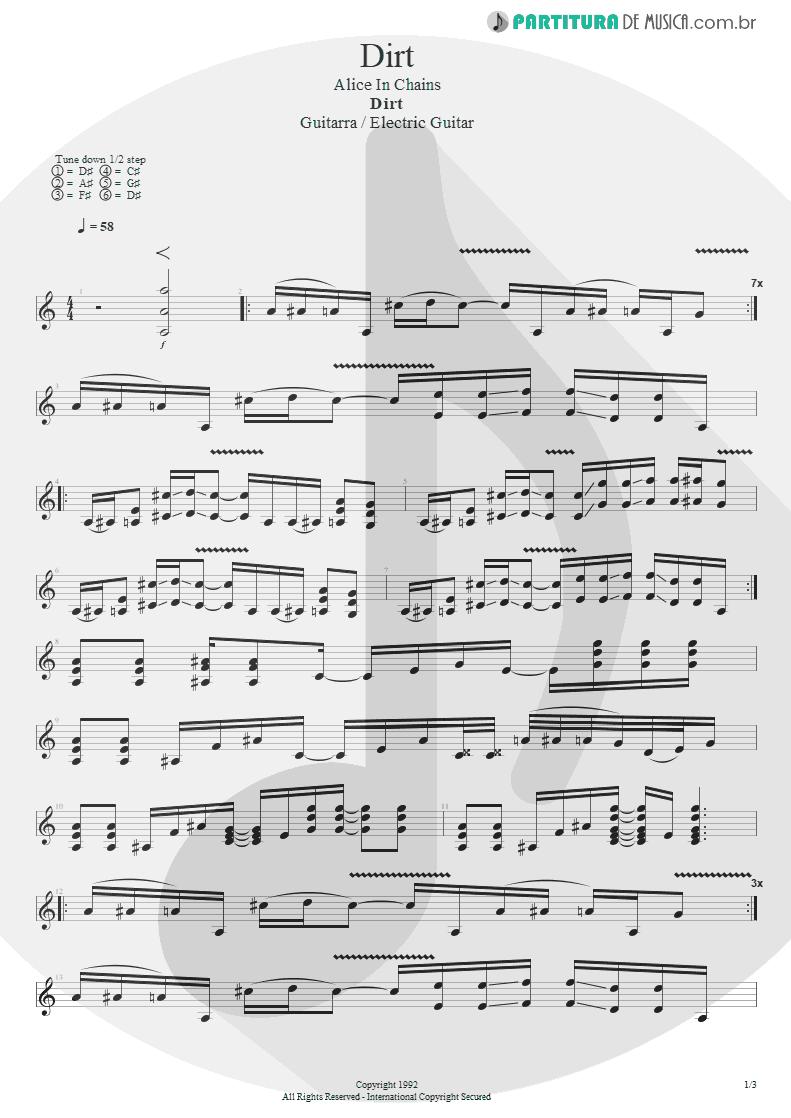 Partitura de musica de Guitarra Elétrica - Dirt   Alice in Chains   Dirt 1992 - pag 1