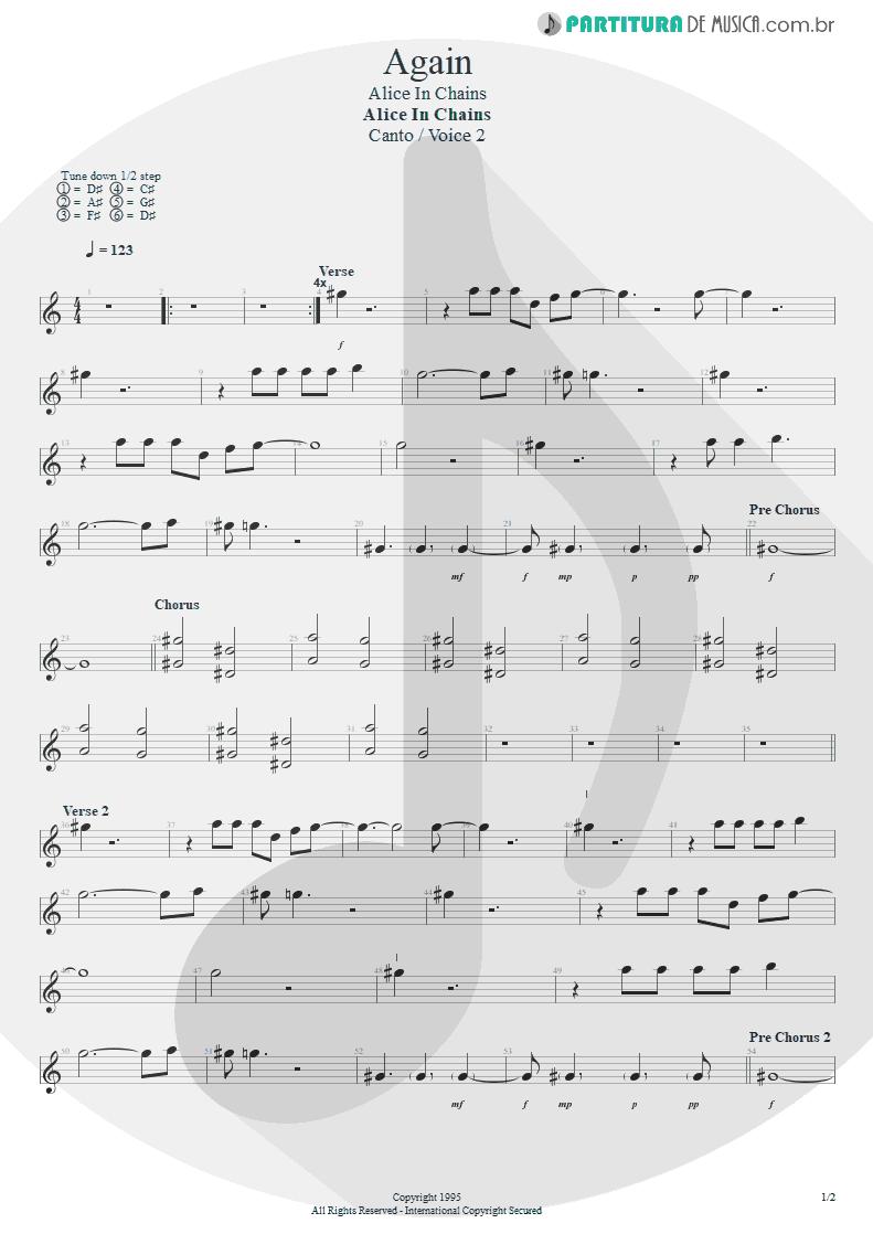 Partitura de musica de Canto - Again | Alice in Chains | Alice in Chains 1995 - pag 1