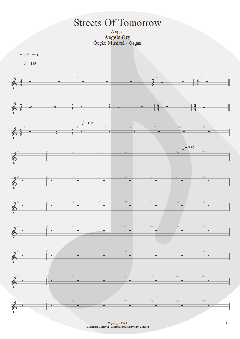 Partitura de musica de Órgão - Streets Of Tomorrow | Angra | Angels Cry 1993 - pag 1