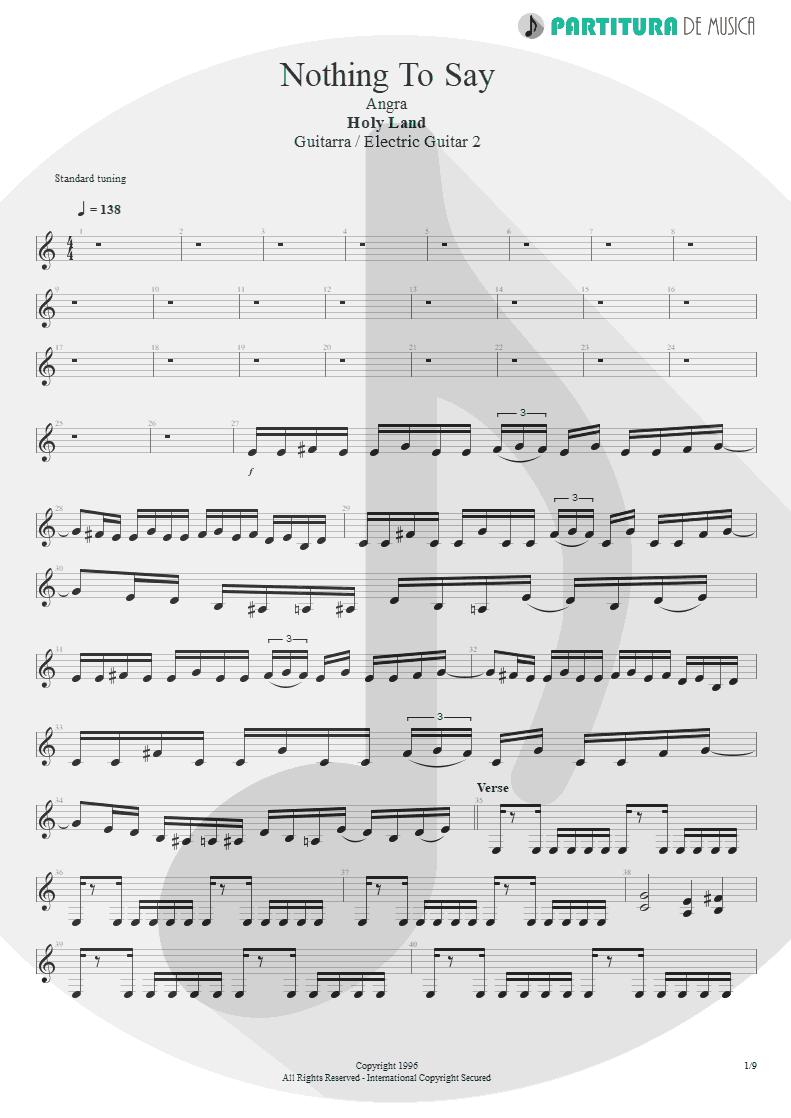 Partitura de musica de Guitarra Elétrica - Nothing To Say | Angra | Holy Land 1996 - pag 1
