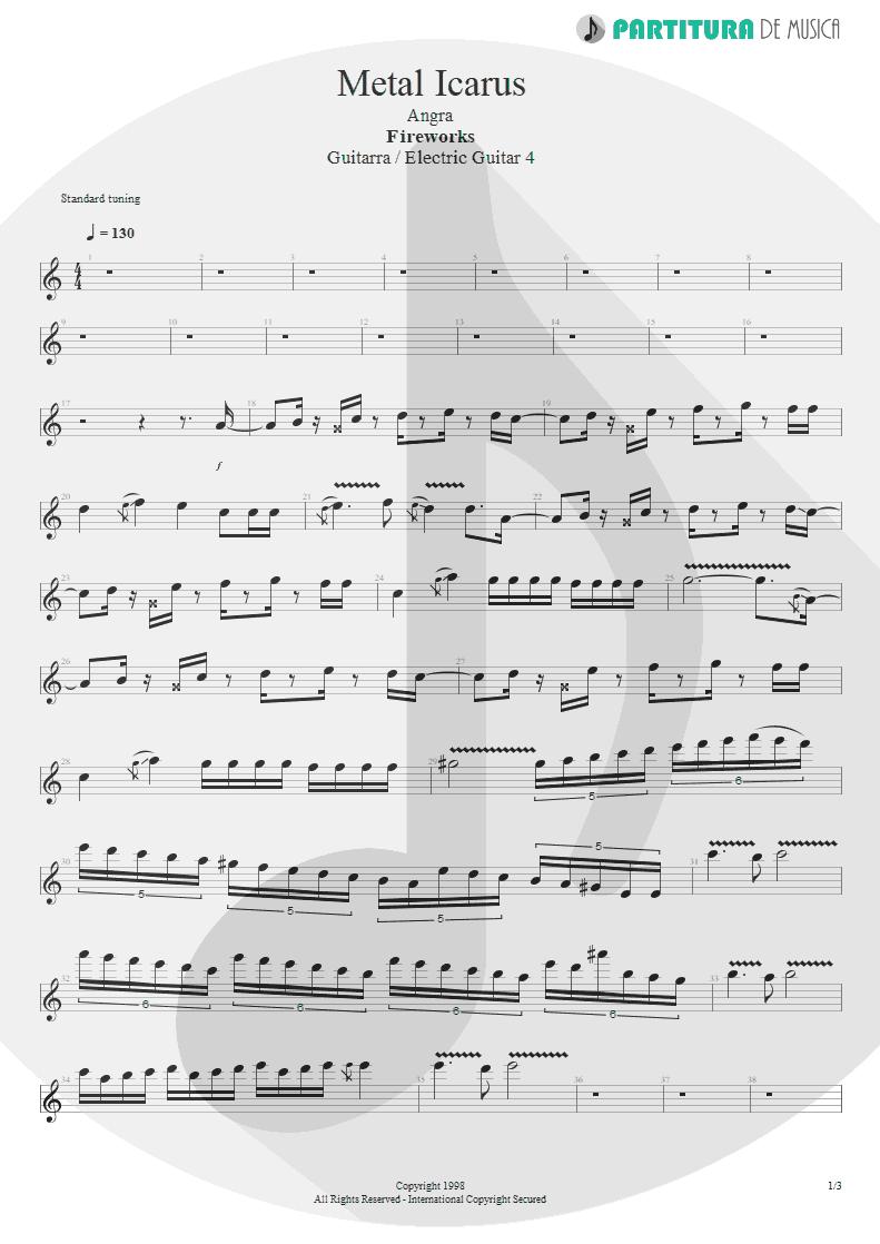 Partitura de musica de Guitarra Elétrica - Metal Icarus | Angra | Fireworks 1998 - pag 1