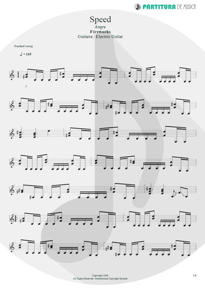 Partitura de musica de Guitarra Elétrica - Speed | Angra | Fireworks 1998 - pag 1