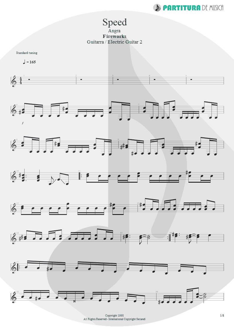 Partitura de musica de Guitarra Elétrica - Speed   Angra   Fireworks 1998 - pag 1