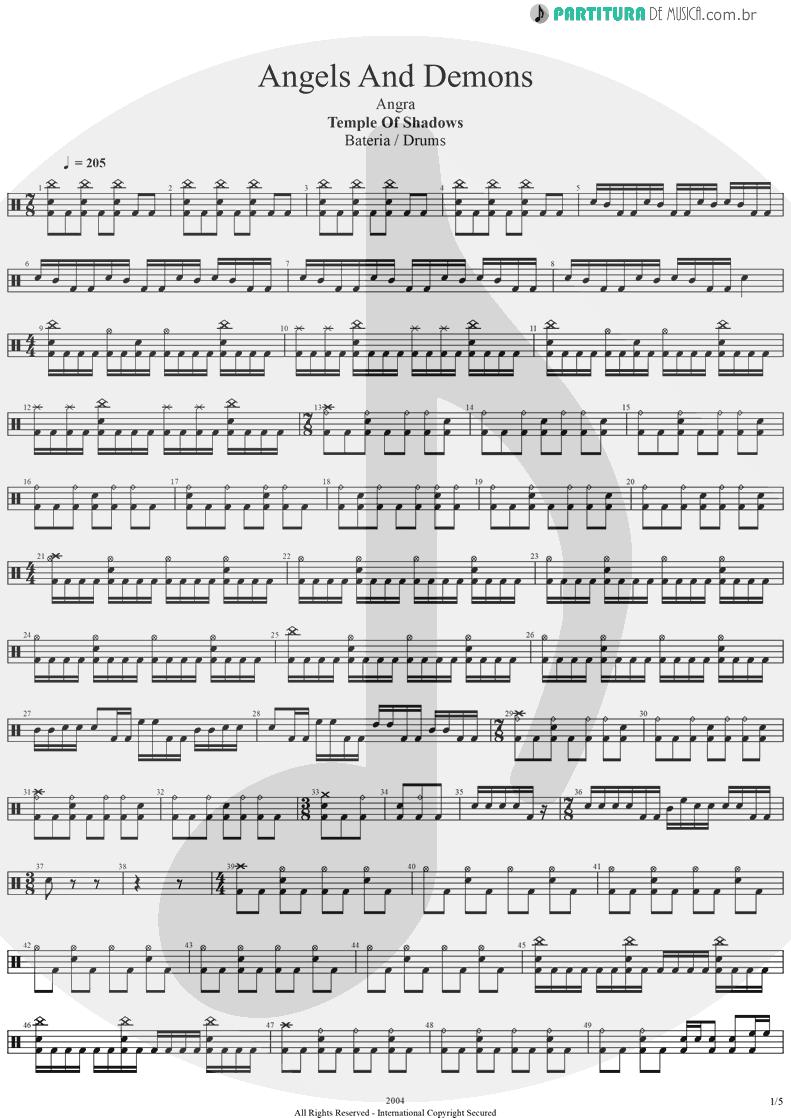 Partitura de musica de Bateria - Angels And Demons | Angra | Temple of Shadows 2004 - pag 1