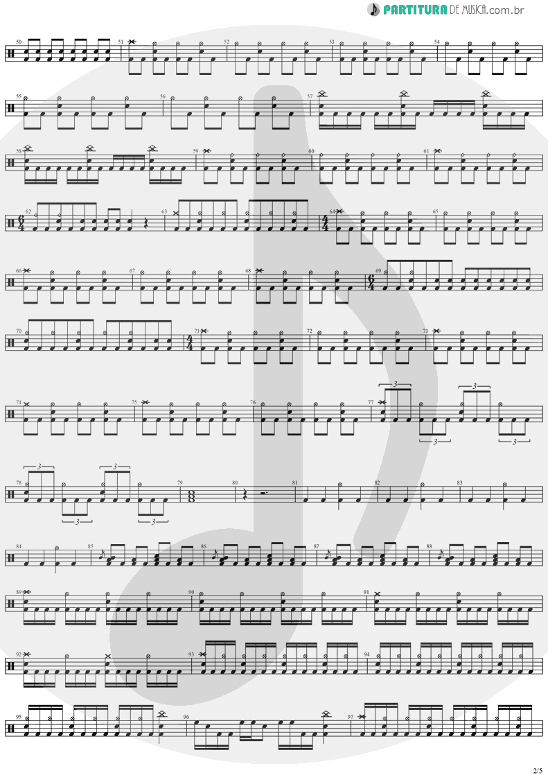 Partitura de musica de Bateria - Angels And Demons | Angra | Temple of Shadows 2004 - pag 2