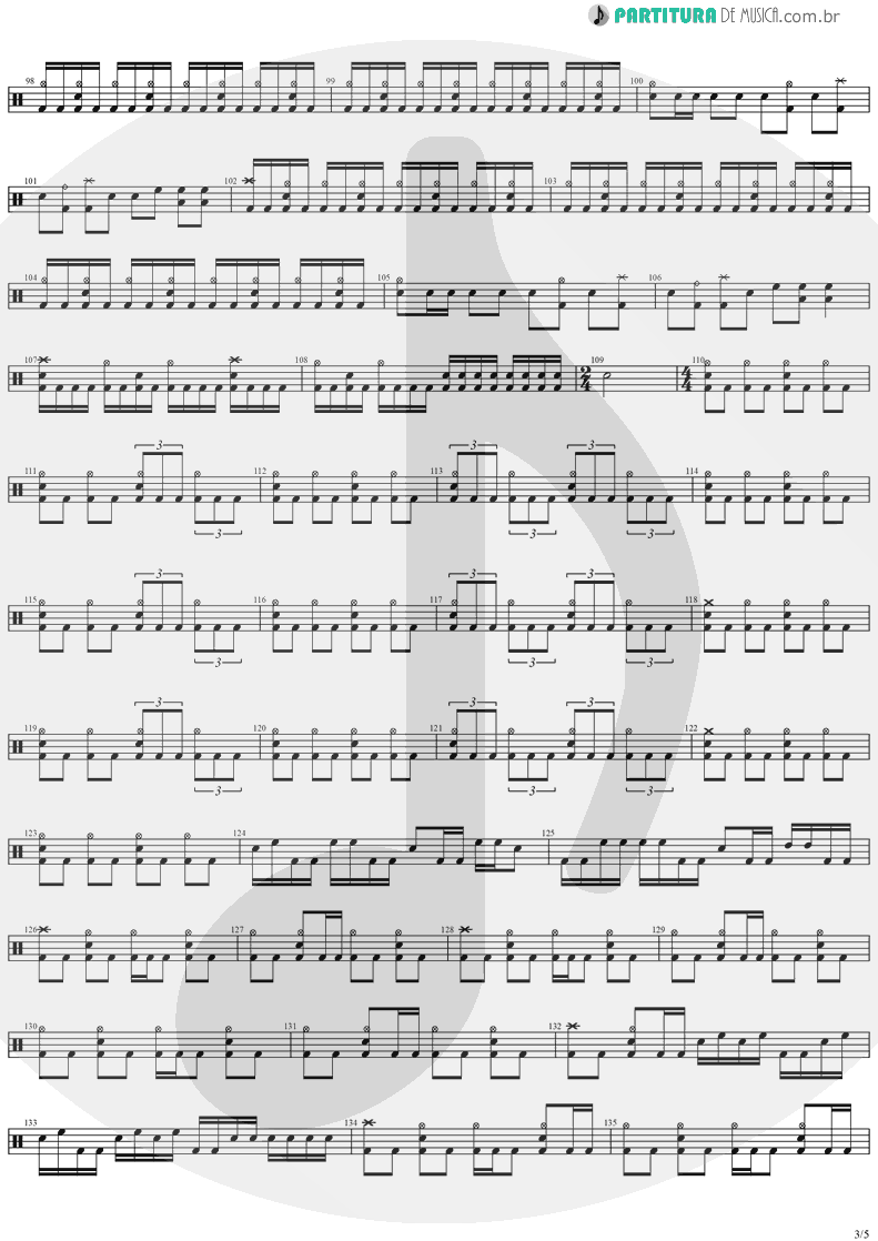 Partitura de musica de Bateria - Angels And Demons | Angra | Temple of Shadows 2004 - pag 3