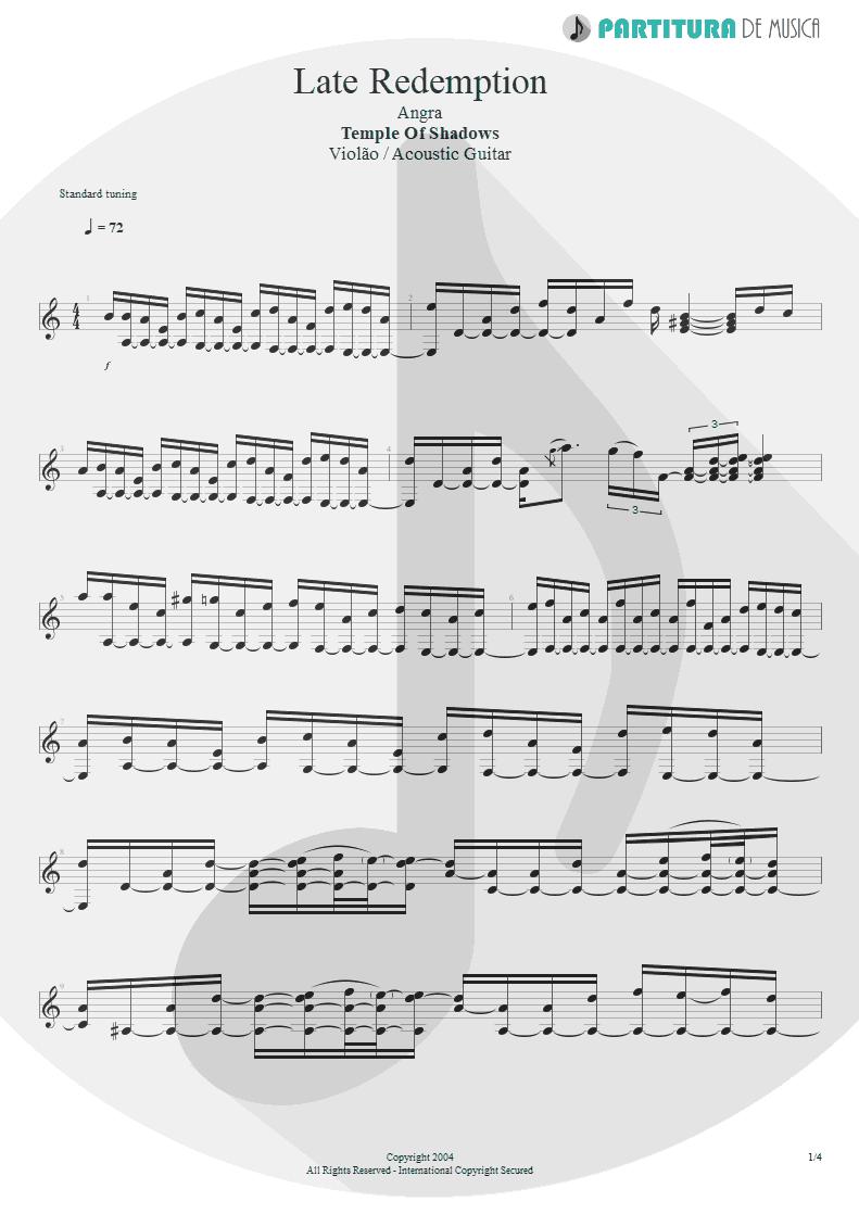 Partitura de musica de Violão - Late Redemption | Angra | Temple of Shadows 2004 - pag 1