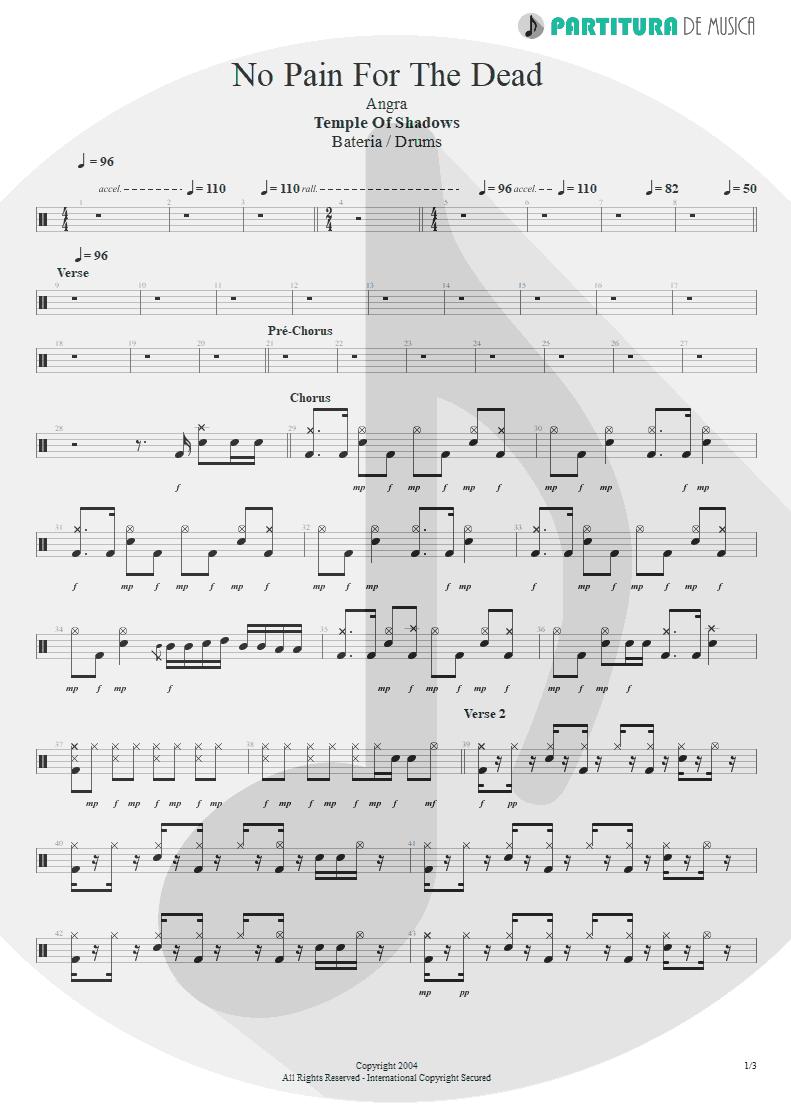 Partitura de musica de Bateria - No Pain For The Dead   Angra   Temple of Shadows 2004 - pag 1