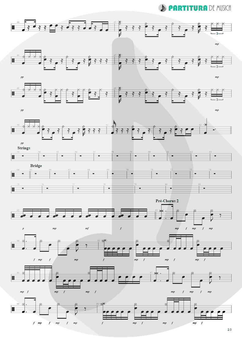 Partitura de musica de Bateria - No Pain For The Dead | Angra | Temple of Shadows 2004 - pag 2