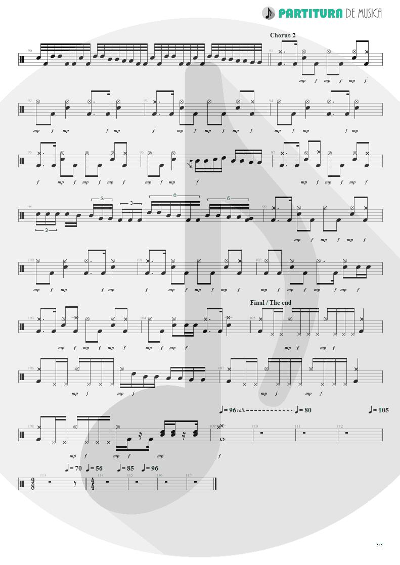 Partitura de musica de Bateria - No Pain For The Dead   Angra   Temple of Shadows 2004 - pag 3