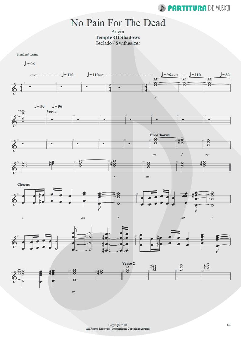 Partitura de musica de Teclado - No Pain For The Dead   Angra   Temple of Shadows 2004 - pag 1