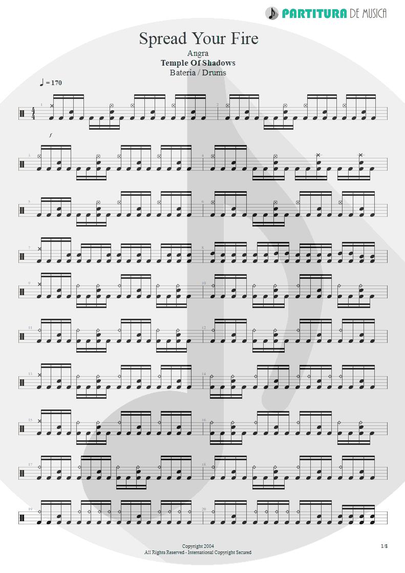 Partitura de musica de Bateria - Spread Your Fire | Angra | Temple of Shadows 2004 - pag 1