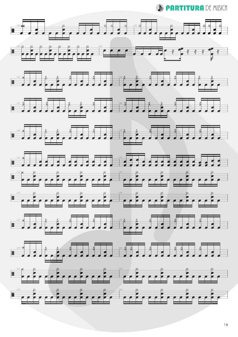Partitura de musica de Bateria - Spread Your Fire | Angra | Temple of Shadows 2004 - pag 7