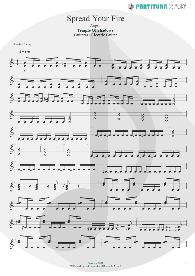 Partitura de musica de Guitarra Elétrica - Spread Your Fire | Angra | Temple of Shadows 2004 - pag 1