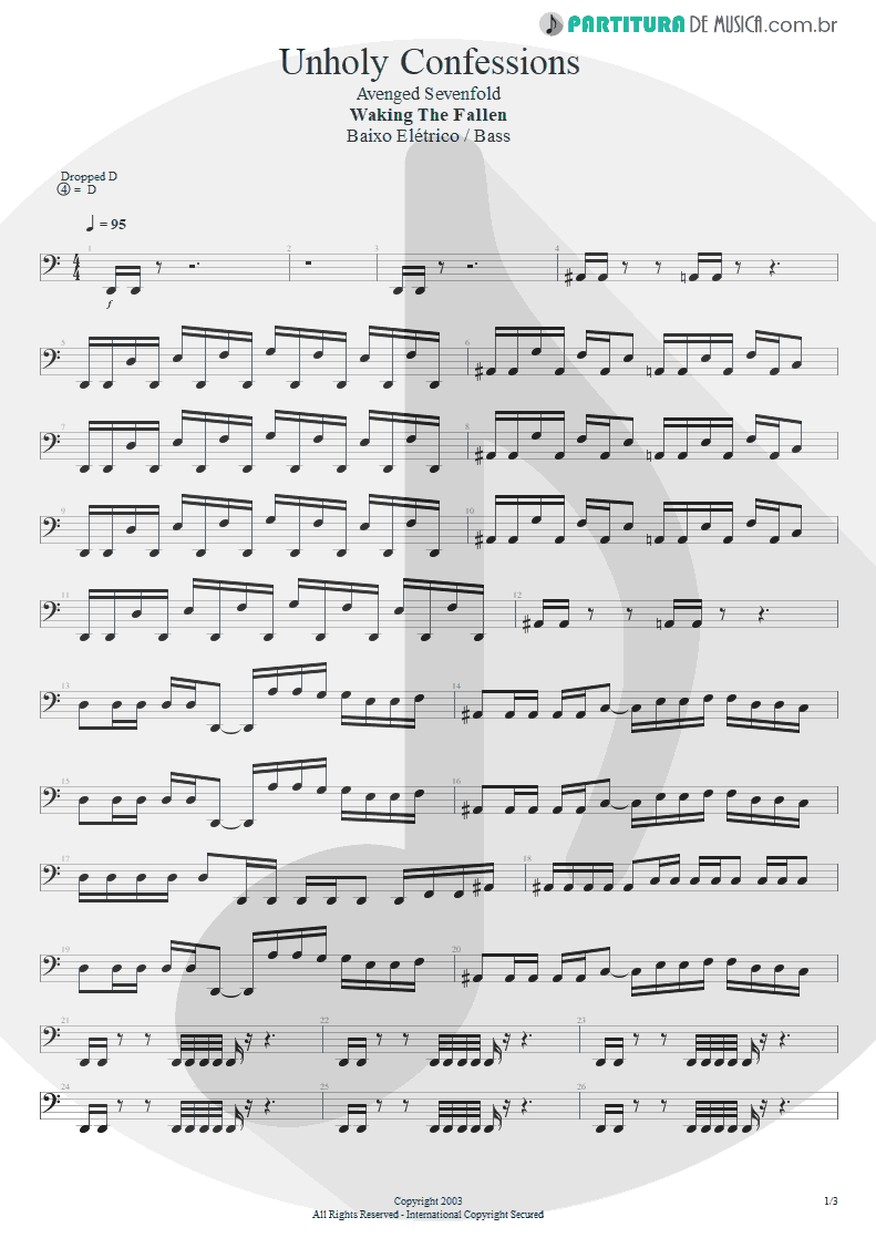 Partitura de musica de Baixo Elétrico - Unholy Confessions   Avenged Sevenfold   Waking the Fallen 2003 - pag 1