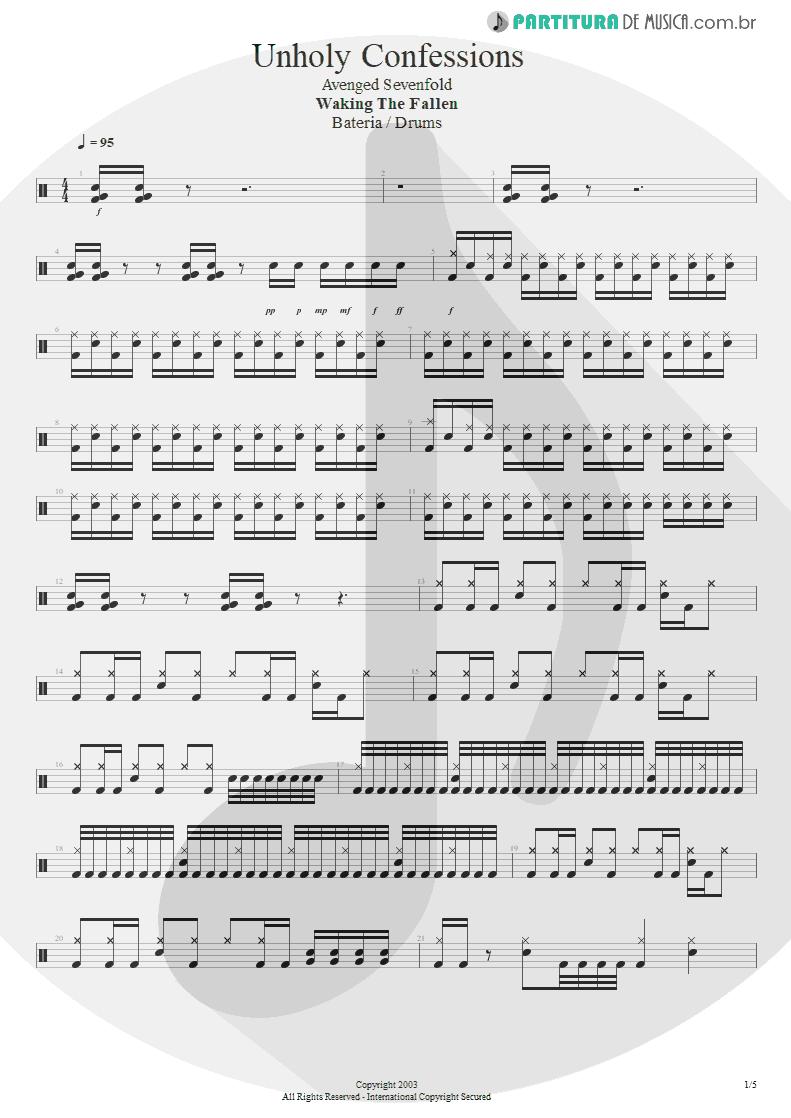 Partitura de musica de Bateria - Unholy Confessions | Avenged Sevenfold | Waking the Fallen 2003 - pag 1