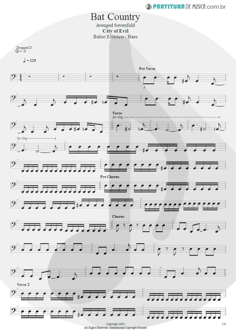 Partitura de musica de Baixo Elétrico - Bat Country   Avenged Sevenfold   City of Evil 2005 - pag 1