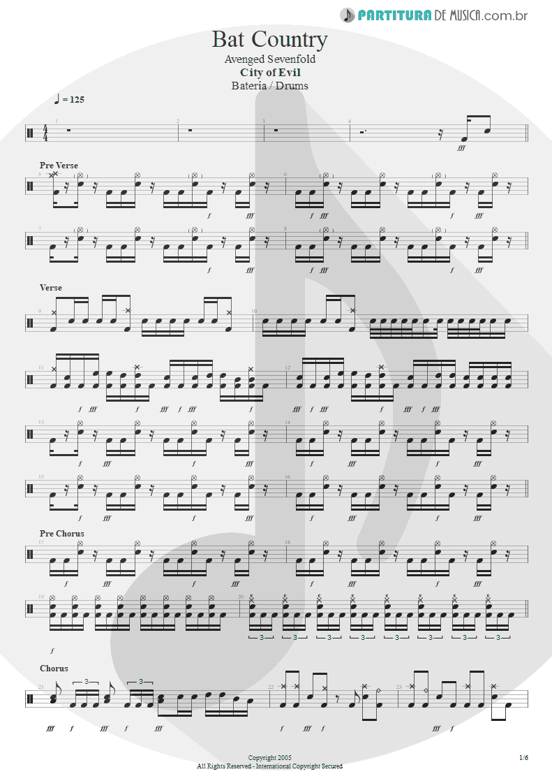 Partitura de musica de Bateria - Bat Country | Avenged Sevenfold | City of Evil 2005 - pag 1