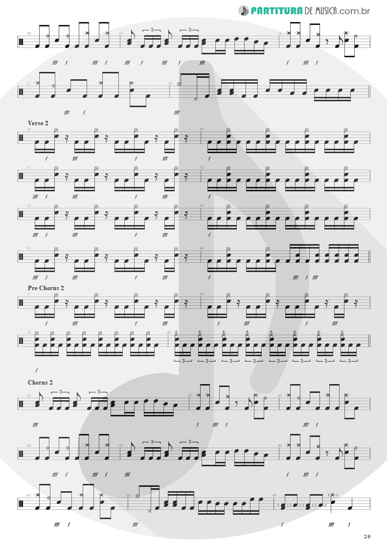 Partitura de musica de Bateria - Bat Country | Avenged Sevenfold | City of Evil 2005 - pag 2