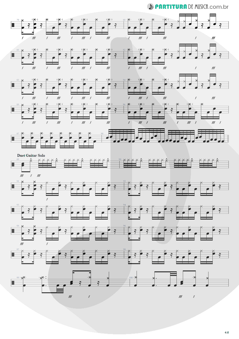 Partitura de musica de Bateria - Bat Country | Avenged Sevenfold | City of Evil 2005 - pag 4