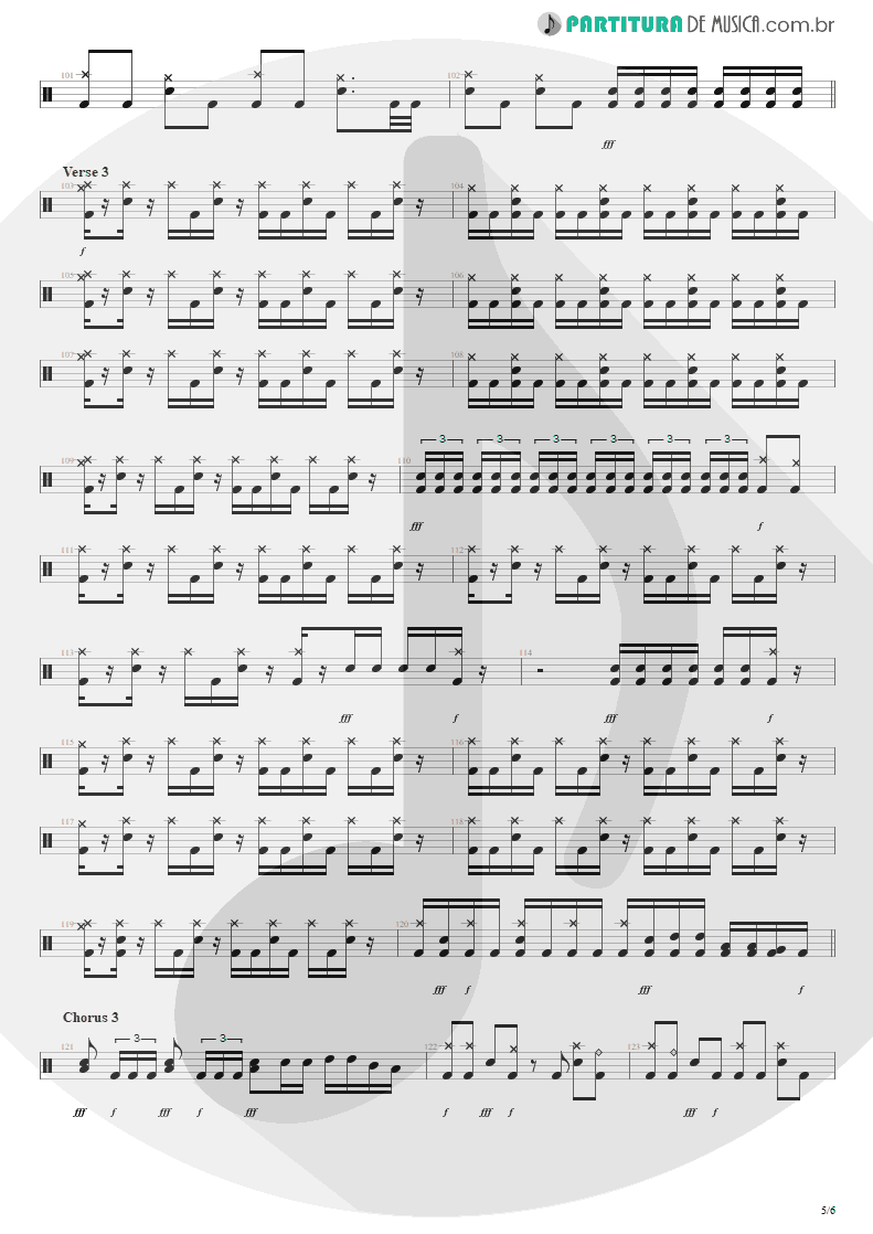 Partitura de musica de Bateria - Bat Country | Avenged Sevenfold | City of Evil 2005 - pag 5