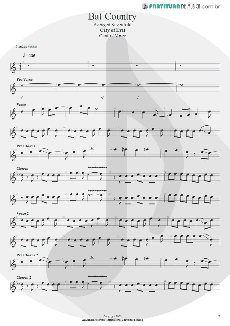 Partitura de musica de Canto - Bat Country | Avenged Sevenfold | City of Evil 2005 - pag 1