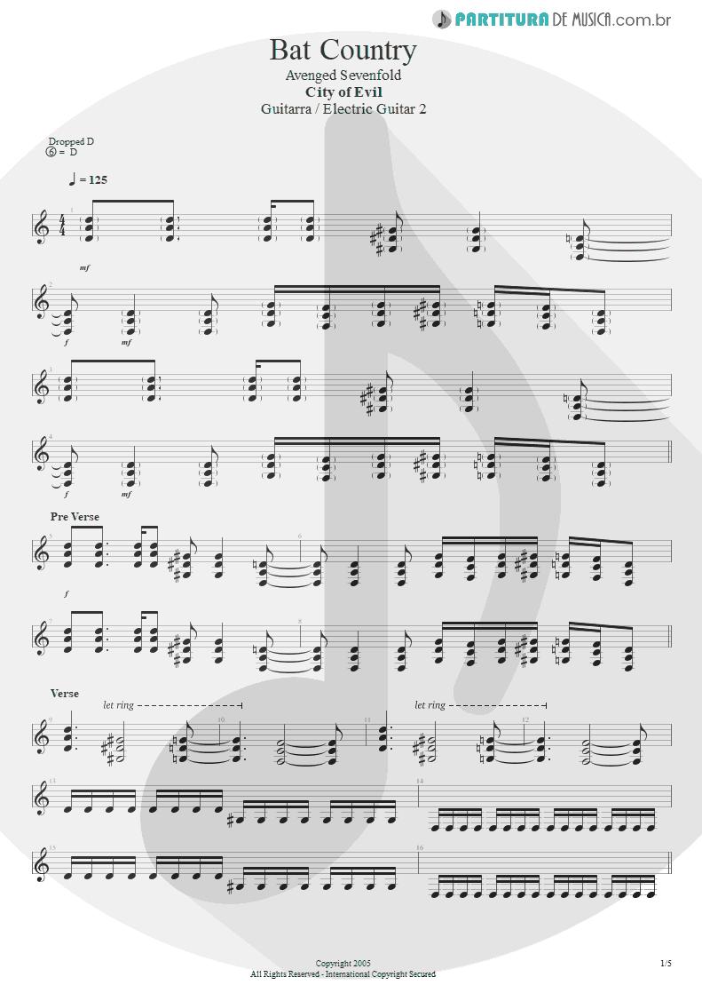 Partitura de musica de Guitarra Elétrica - Bat Country   Avenged Sevenfold   City of Evil 2005 - pag 1