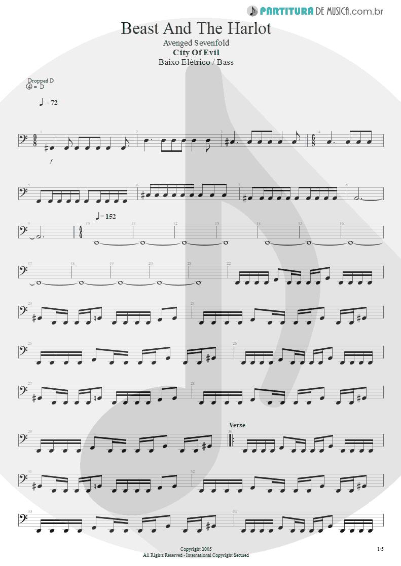 Partitura de musica de Baixo Elétrico - Beast And The Harlot | Avenged Sevenfold | City of Evil 2005 - pag 1