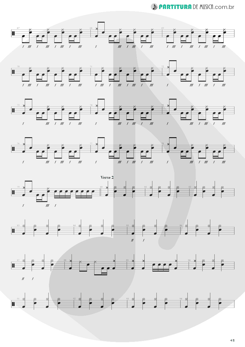 Partitura de musica de Bateria - Beast And The Harlot | Avenged Sevenfold | City of Evil 2005 - pag 4