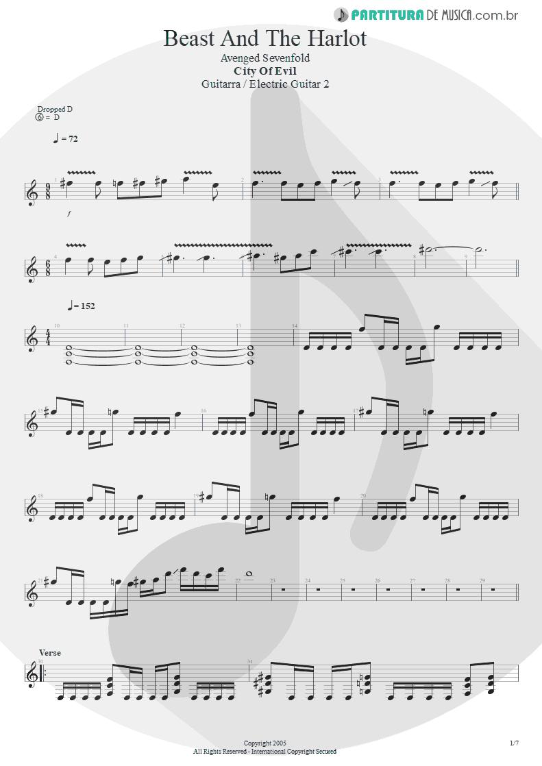 Partitura de musica de Guitarra Elétrica - Beast And The Harlot | Avenged Sevenfold | City of Evil 2005 - pag 1