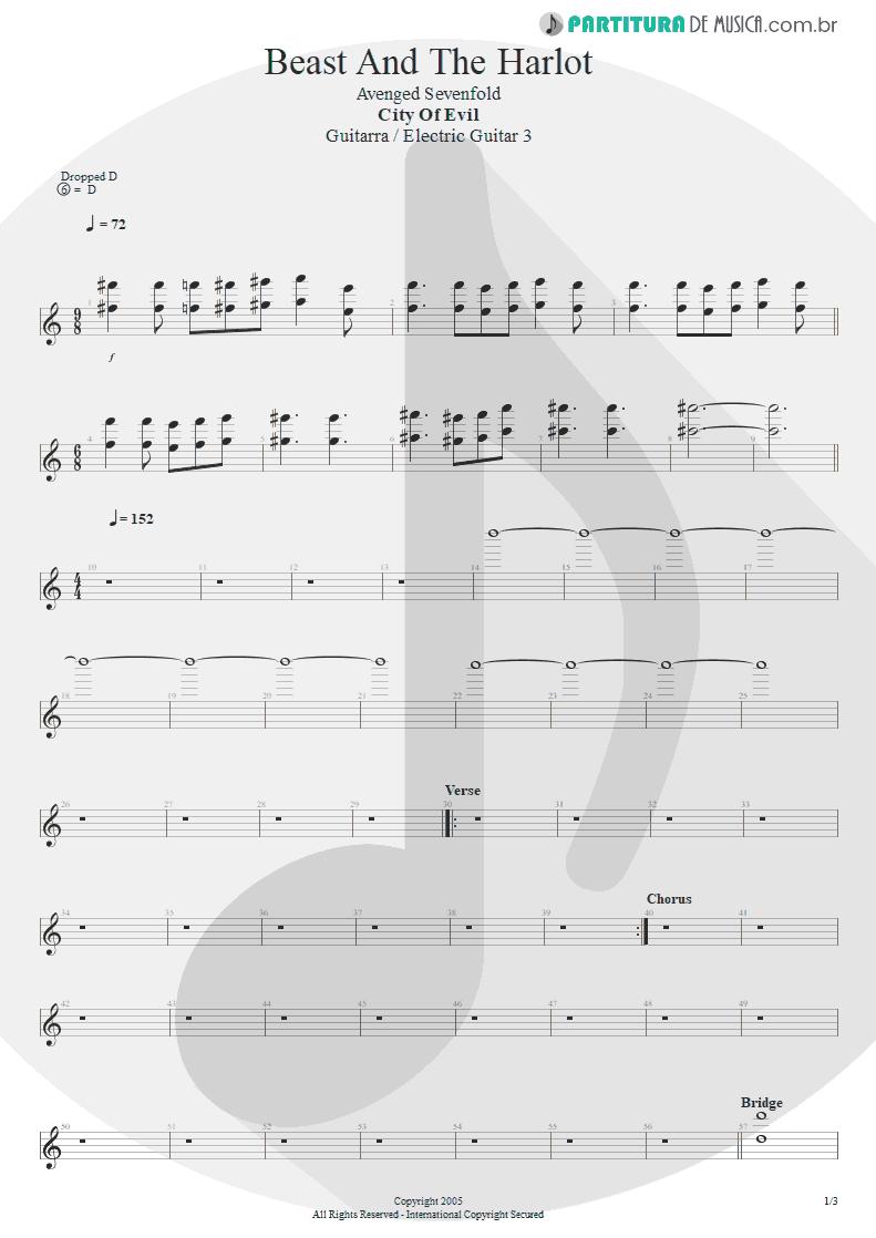 Partitura de musica de Guitarra Elétrica - Beast And The Harlot   Avenged Sevenfold   City of Evil 2005 - pag 1
