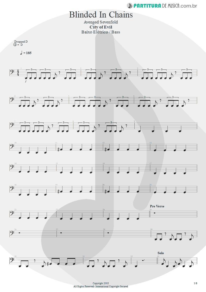 Partitura de musica de Baixo Elétrico - Blinded In Chains   Avenged Sevenfold   City of Evil 2005 - pag 1