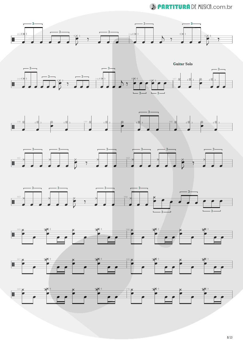 Partitura de musica de Bateria - Blinded In Chains   Avenged Sevenfold   City of Evil 2005 - pag 8