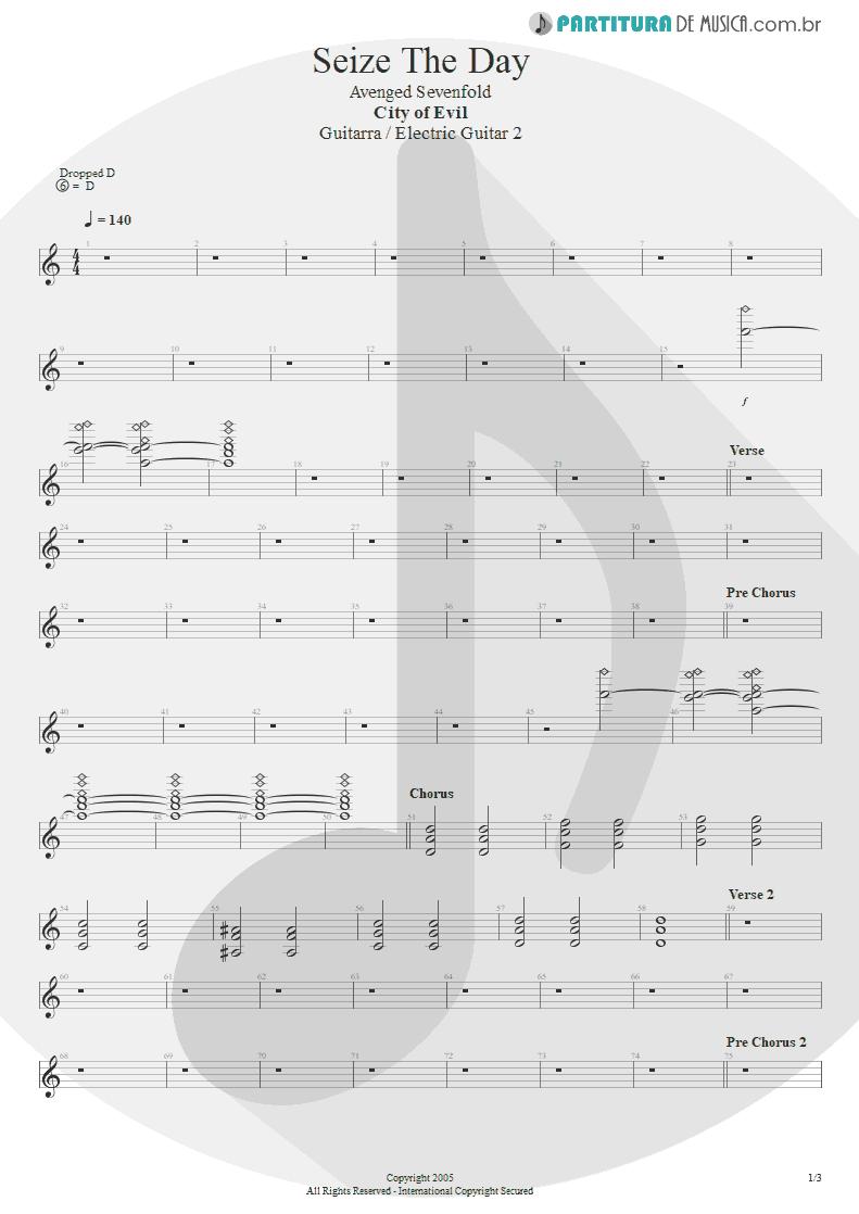 Partitura de musica de Guitarra Elétrica - Seize The Day | Avenged Sevenfold | City of Evil 2005 - pag 1