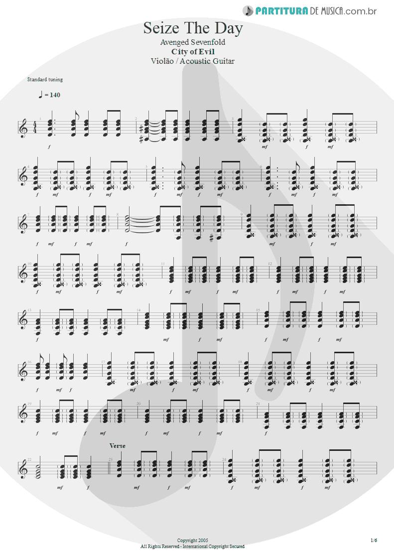 Partitura de musica de Violão - Seize The Day   Avenged Sevenfold   City of Evil 2005 - pag 1