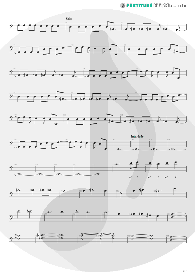 Partitura de musica de Baixo Elétrico - The Wicked End | Avenged Sevenfold | City of Evil 2005 - pag 5