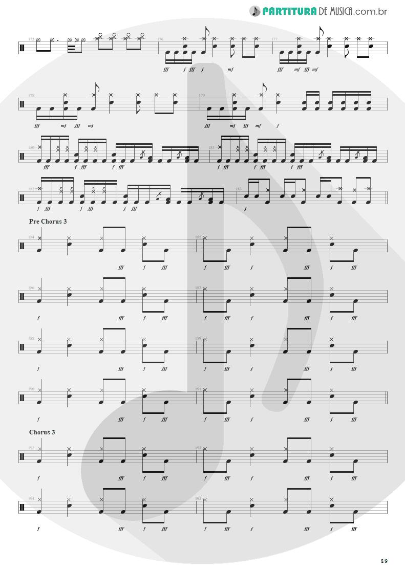 Partitura de musica de Bateria - The Wicked End | Avenged Sevenfold | City of Evil 2005 - pag 8