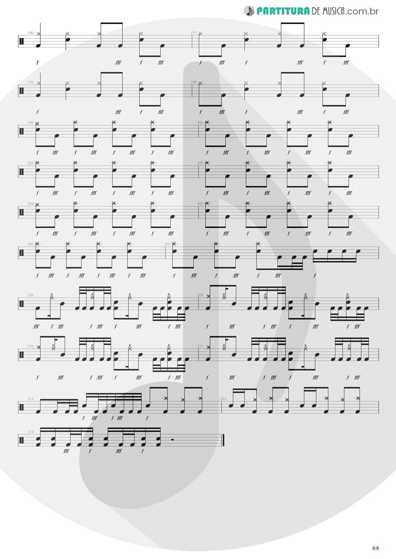 Partitura de musica de Bateria - The Wicked End | Avenged Sevenfold | City of Evil 2005 - pag 9