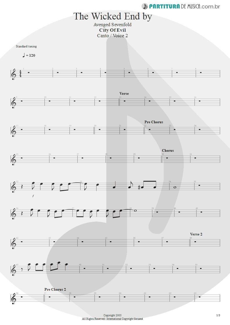 Partitura de musica de Canto - The Wicked End   Avenged Sevenfold   City of Evil 2005 - pag 1