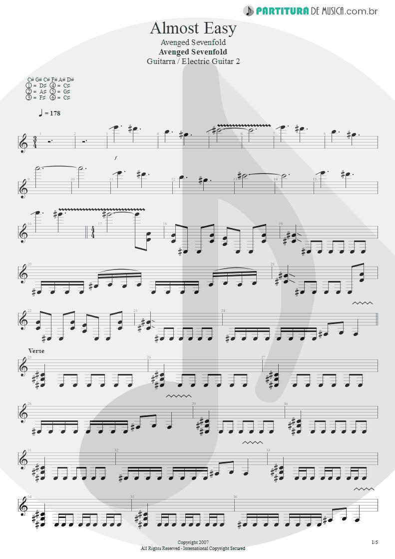 Partitura de musica de Guitarra Elétrica - Almost Easy   Avenged Sevenfold   Avenged Sevenfold 2007 - pag 1
