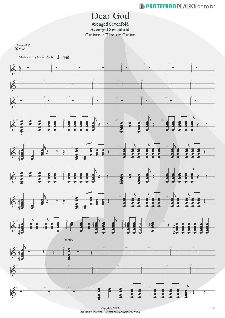 Partitura de musica de Guitarra Elétrica - Dear God   Avenged Sevenfold   Avenged Sevenfold 2007 - pag 1