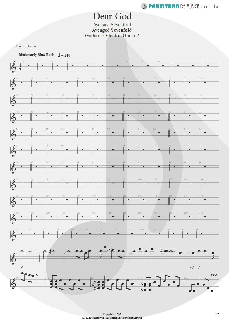 Partitura de musica de Guitarra Elétrica - Dear God | Avenged Sevenfold | Avenged Sevenfold 2007 - pag 1