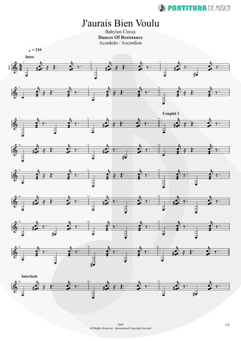 Partitura de musica de Acordeão - J'aurais Bien Voulu | Babylon Circus | Dances Of Resistance 2004 - pag 1