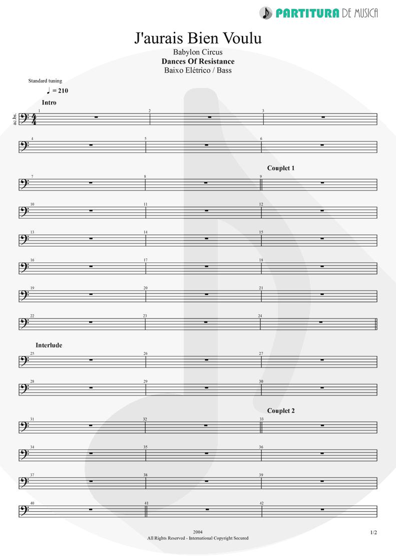 Partitura de musica de Baixo Elétrico - J'aurais Bien Voulu   Babylon Circus   Dances Of Resistance 2004 - pag 1