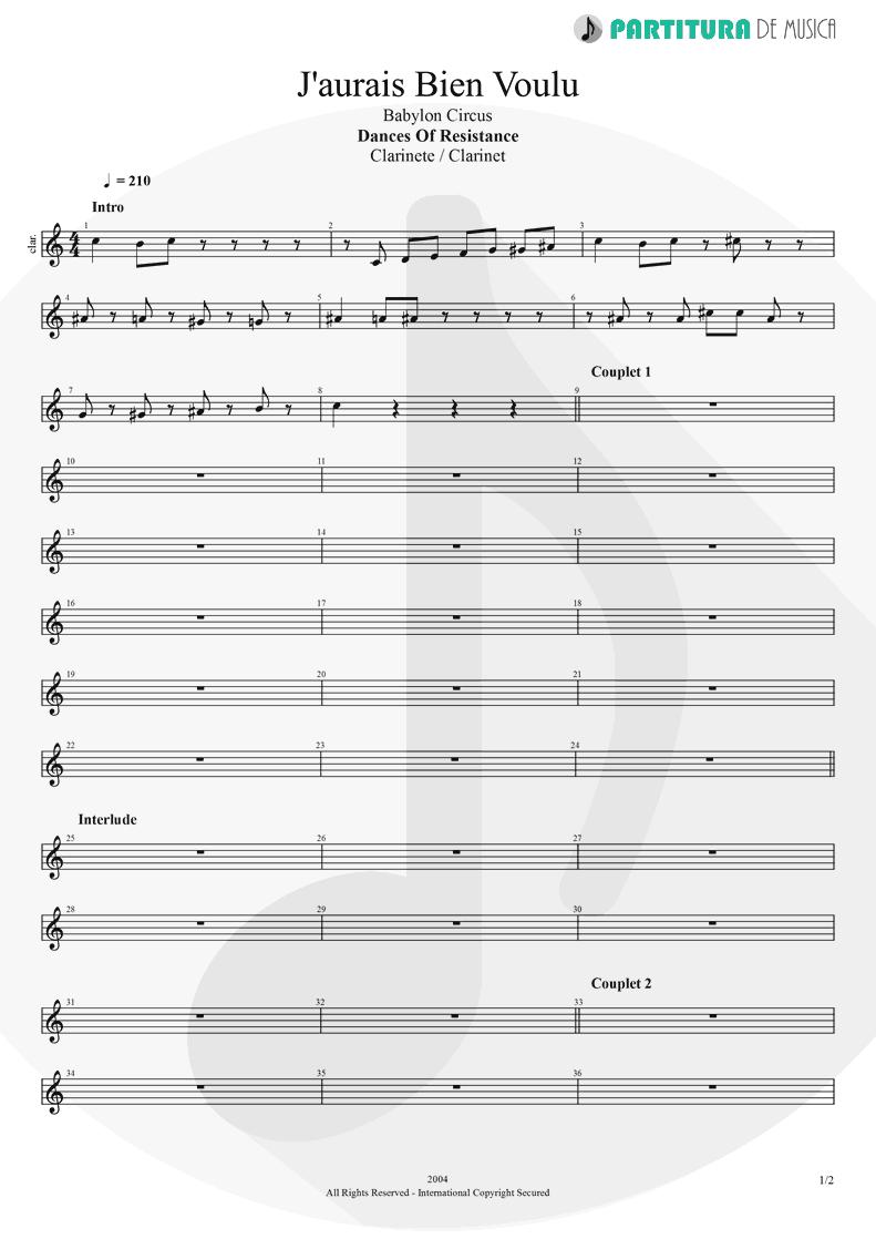 Partitura de musica de Clarinete - J'aurais Bien Voulu | Babylon Circus | Dances Of Resistance 2004 - pag 1