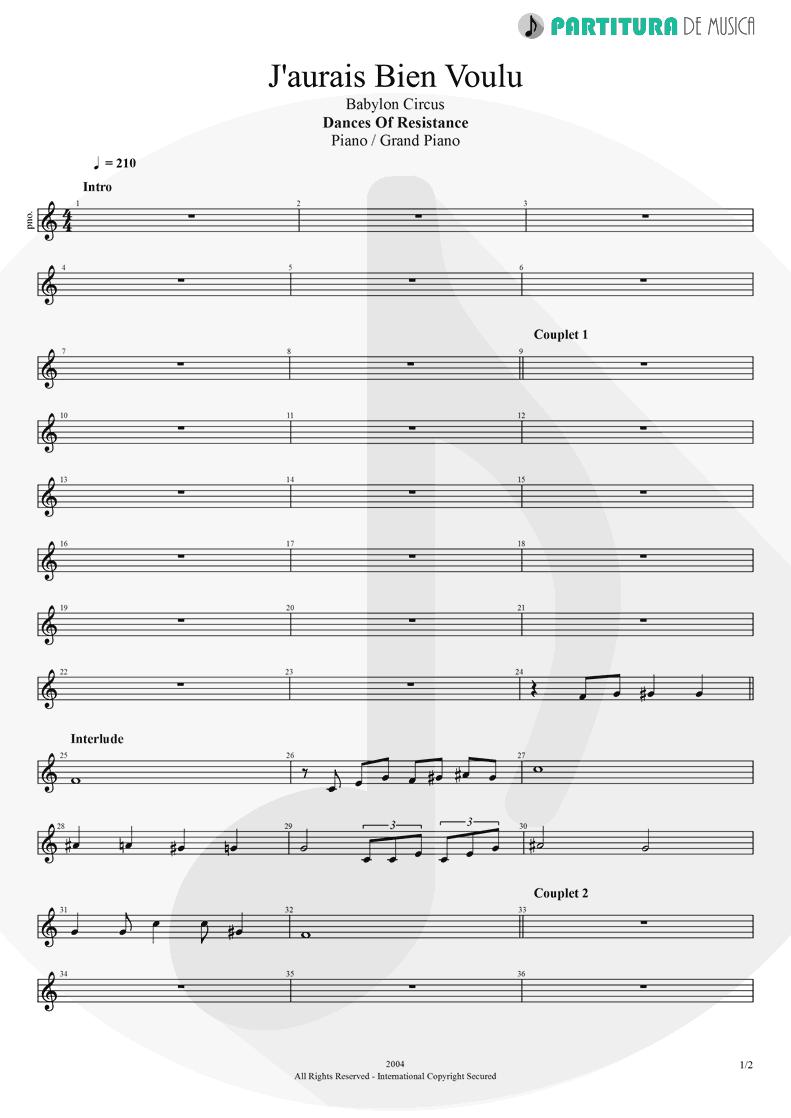 Partitura de musica de Piano - J'aurais Bien Voulu | Babylon Circus | Dances Of Resistance 2004 - pag 1