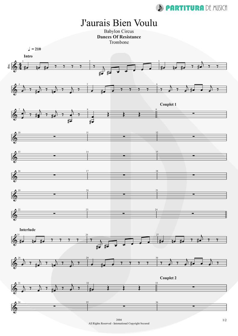 Partitura de musica de Trombone - J'aurais Bien Voulu | Babylon Circus | Dances Of Resistance 2004 - pag 1